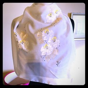 D'Carlo Floral Scarf White Yellow